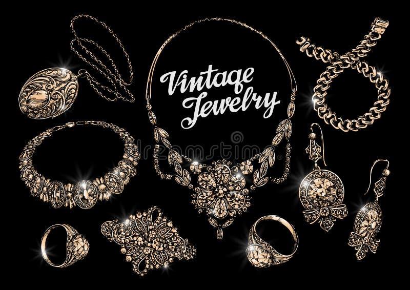 klejnoty wręcza patroszoną bransoletkę, pierścionki, breloczek, kolia, łańcuch, broszka, kolczyki ilustracja wektor