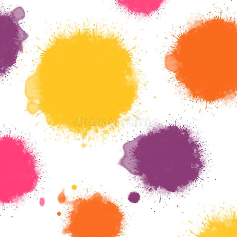 kleksów kolorów atrament ciepły ilustracji