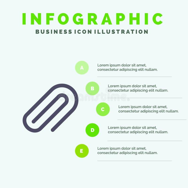 Klem, Metaal, Document, Pin Solid Icon Infographics 5 de Achtergrond van de Stappenpresentatie royalty-vrije illustratie