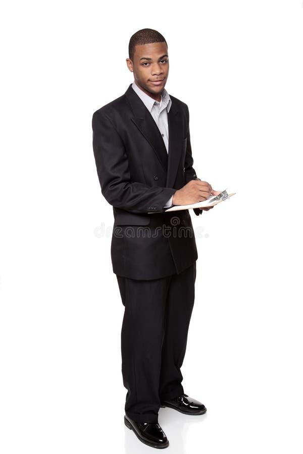 Klembord - Afrikaanse Amerikaanse zakenman royalty-vrije stock afbeeldingen