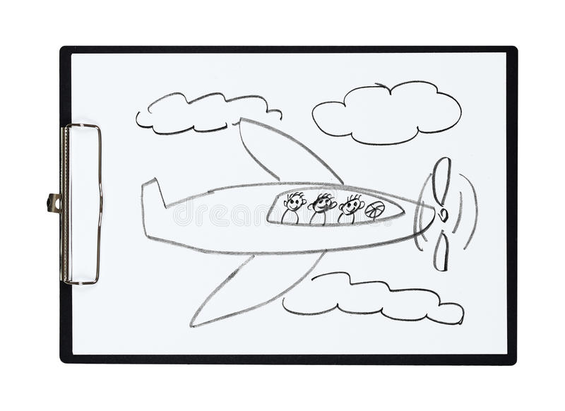 Klembord en document blad met het vliegtuig van de potloodtekening en kinderen, voorwerp royalty-vrije illustratie