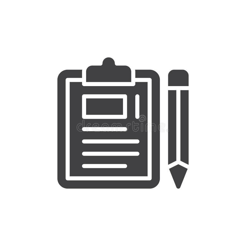 Klembord en potloodpictogram vector, gevuld vlak teken, stevig die pictogram op wit wordt geïsoleerd royalty-vrije illustratie