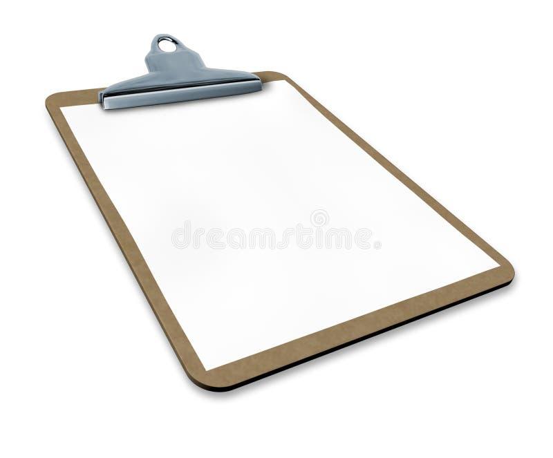 Klembord hoekig met leeg document vector illustratie