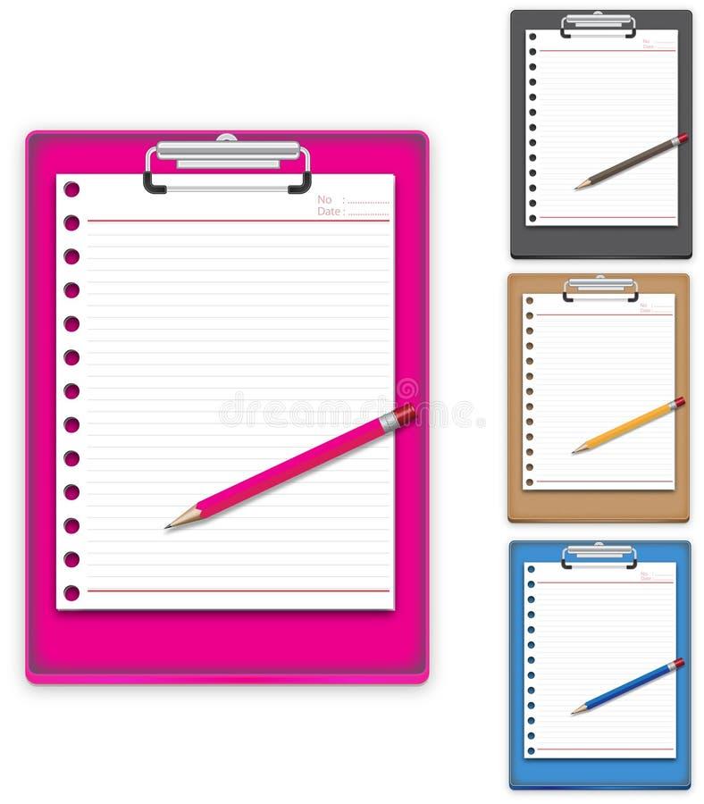 Klembord met document en potlood stock illustratie