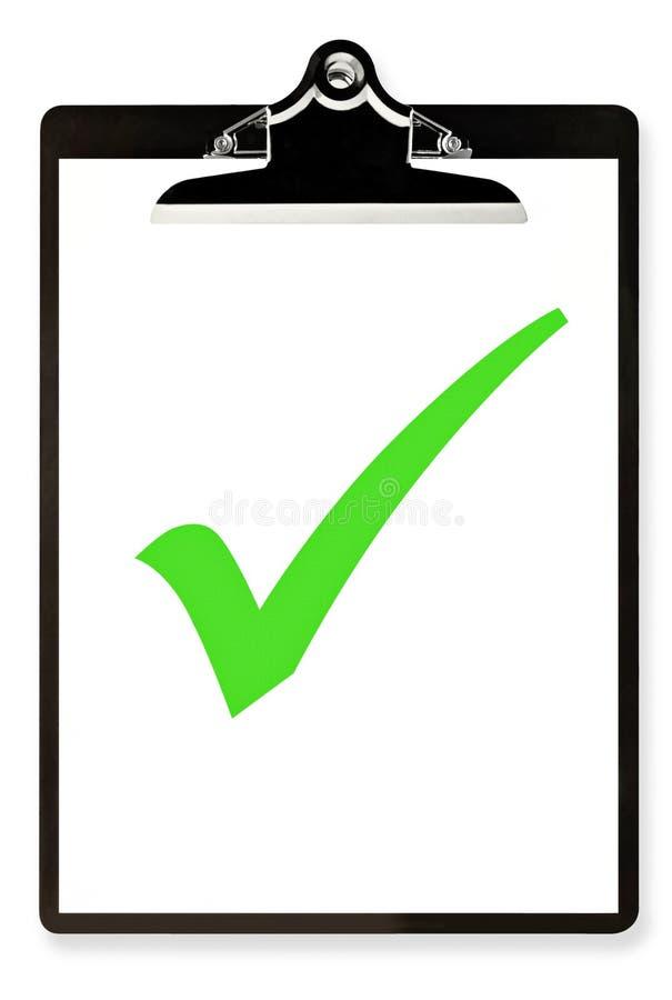 Klembord met Groene Tik stock afbeelding