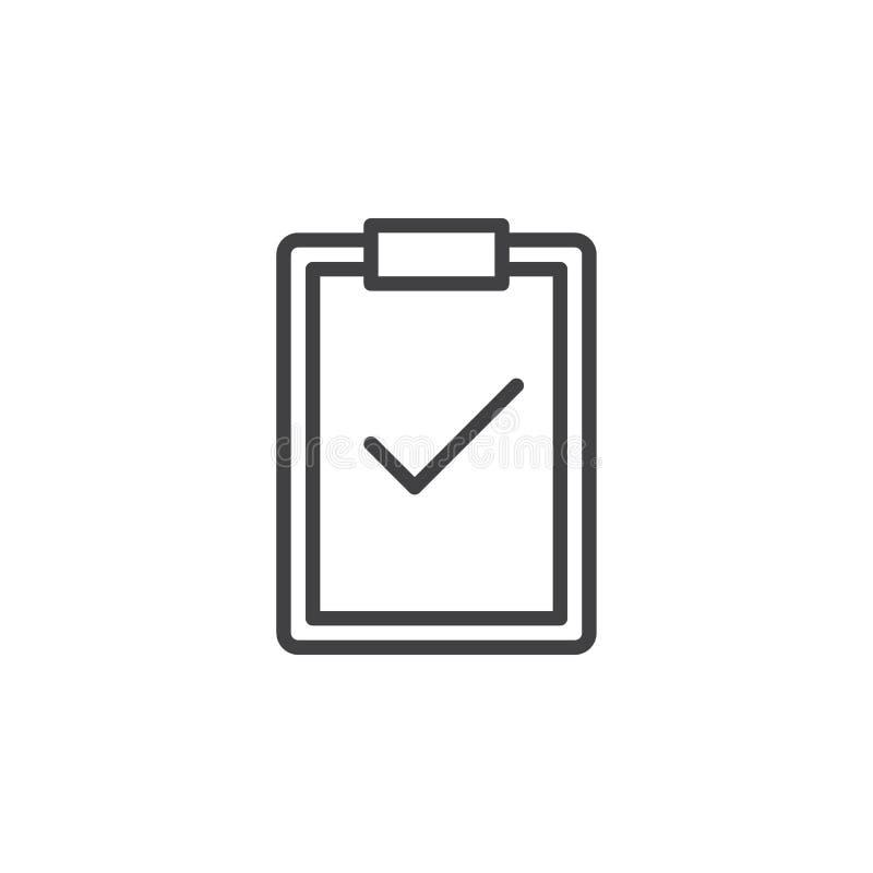 Klembord met het pictogram van de vinkjelijn, overzichts vectorteken, lineair die stijlpictogram op wit wordt geïsoleerd vector illustratie