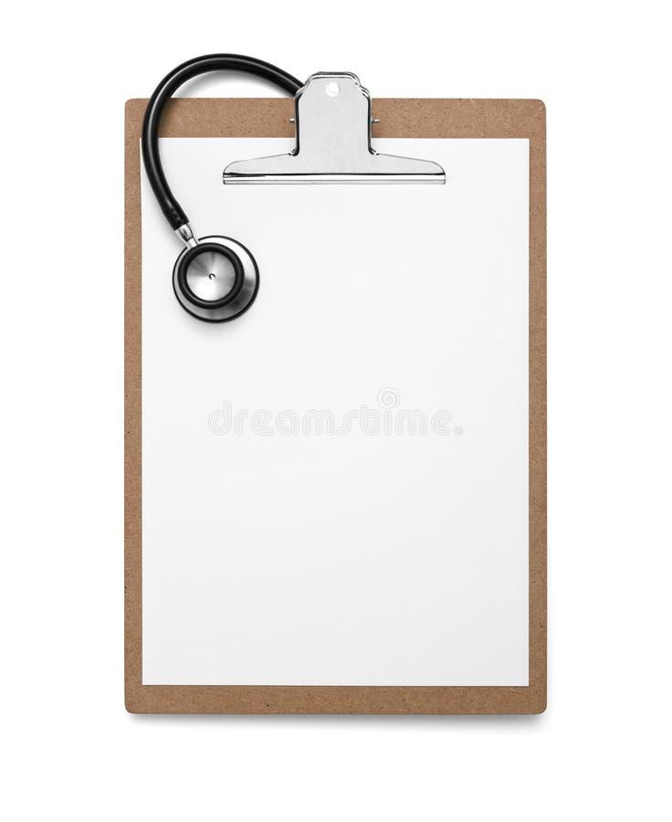 Klembord met lege document en stethoscoop royalty-vrije stock afbeelding