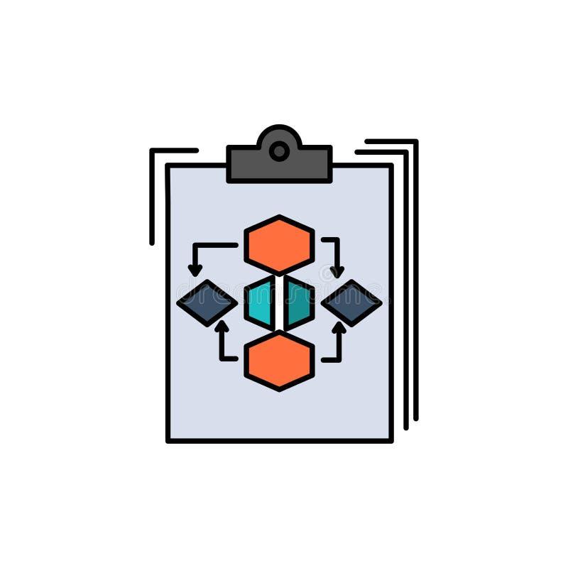 Klembord, Zaken, Diagram, Stroom, Proces, het Werk, Pictogram van de Werkschema het Vlakke Kleur Het vectormalplaatje van de pict vector illustratie