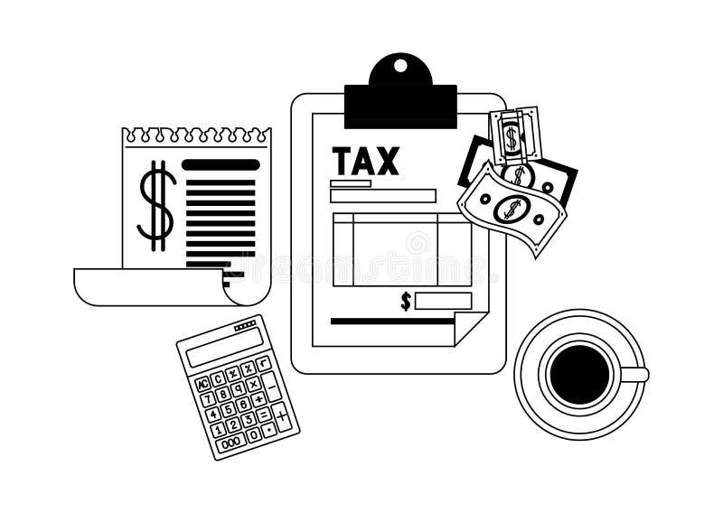 Klembordbelastingen met calculator en rekeningen royalty-vrije illustratie