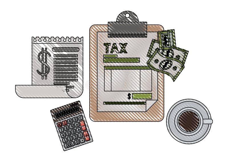 Klembordbelastingen met calculator en rekeningen vector illustratie