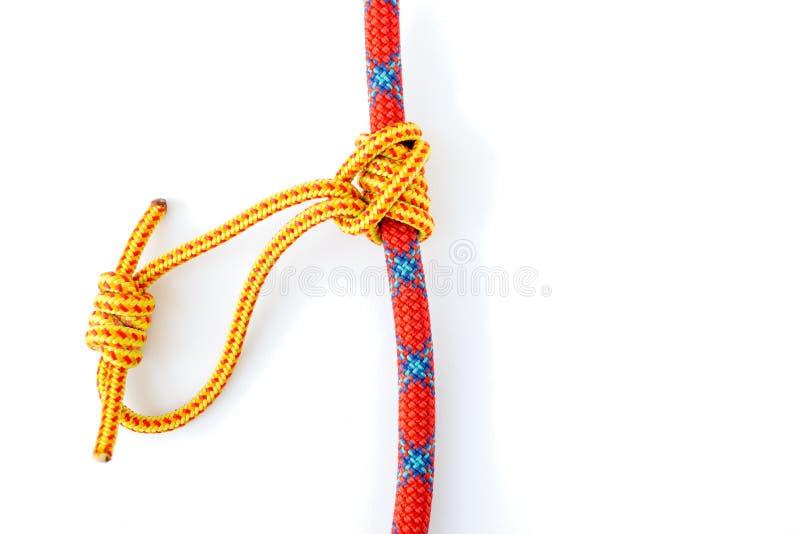 Klemheist ou nó francês do engate da fricção de Machard, isolado no fundo branco, com sombra discreto Estrutura deste nó imagem de stock