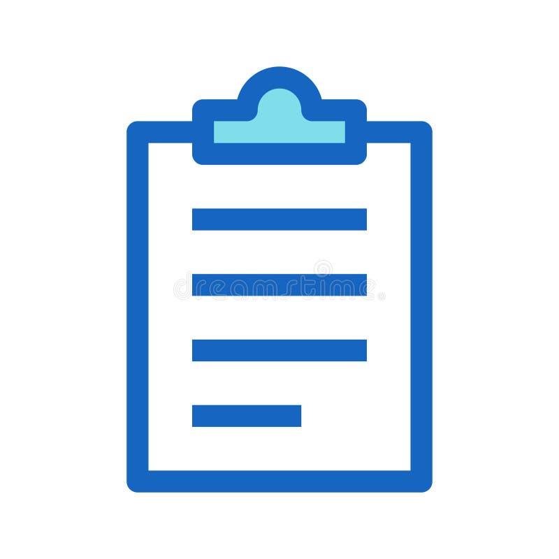 Klemmbrett-Geschäft gefüllte Linie Ikonen-blaue Farbe lizenzfreie abbildung