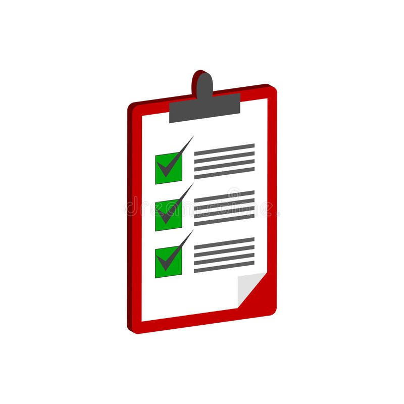 Klemmbrett mit Checklistensymbol Flache isometrische Ikone oder Logo 3d vektor abbildung
