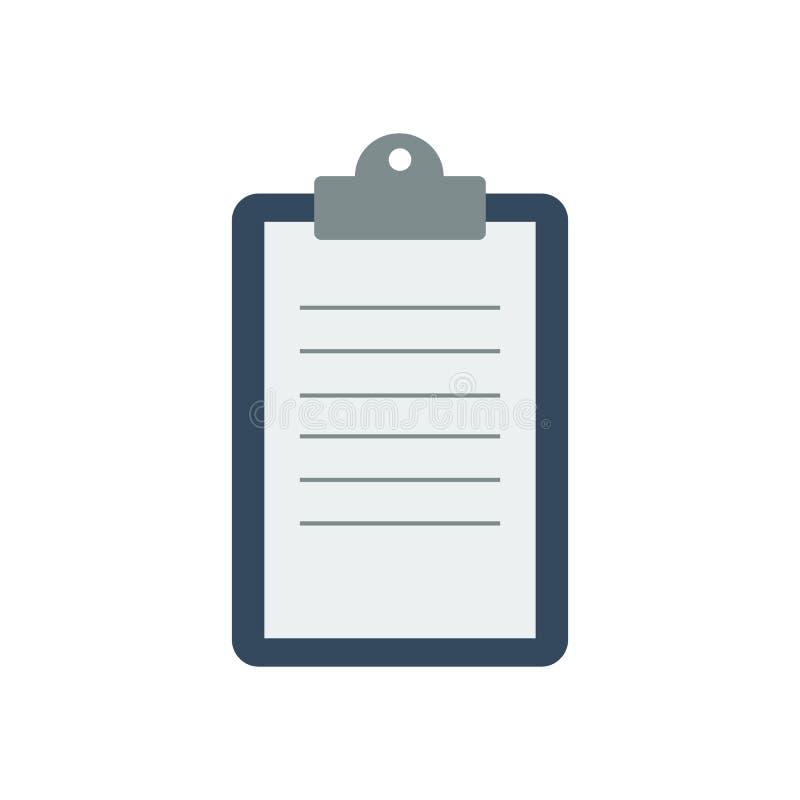 Klemmbrett mit einem Blatt Papier lizenzfreie abbildung