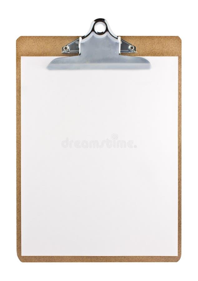 Klemmbrett mit einem Weißbuchblatt lizenzfreie stockfotografie