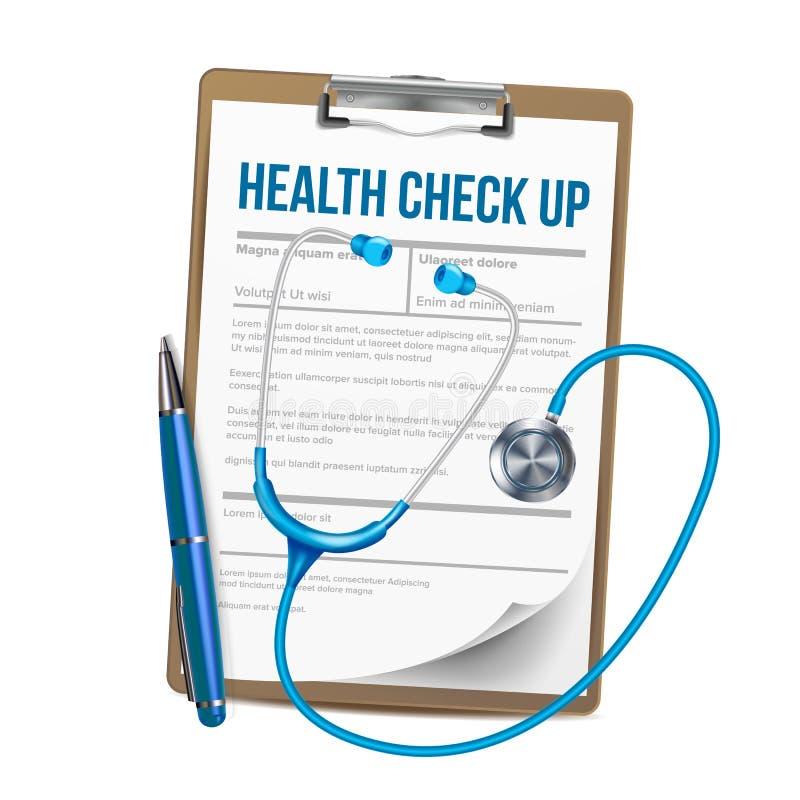 Klemmbrett mit Liste des Gesundheits-Checks herauf Vektor vektor abbildung