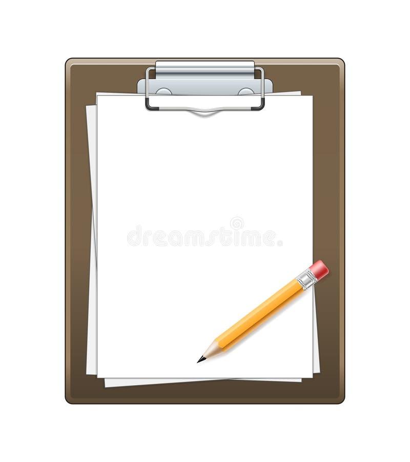 Klemmbrett mit Papier und Bleistift stock abbildung