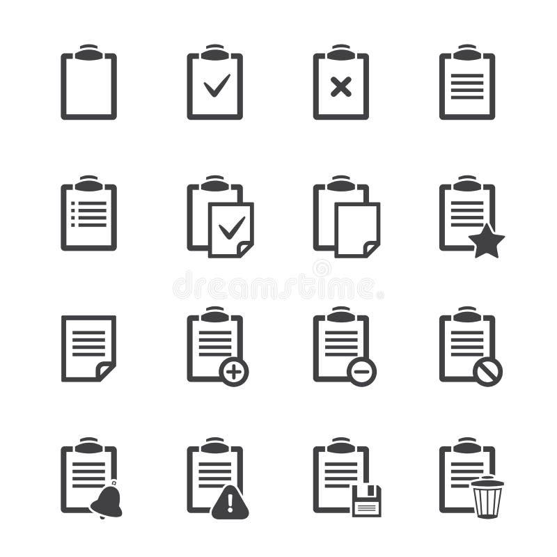 Klemmbrettikonen über Weiß Vektor ofice Dokument lizenzfreie abbildung
