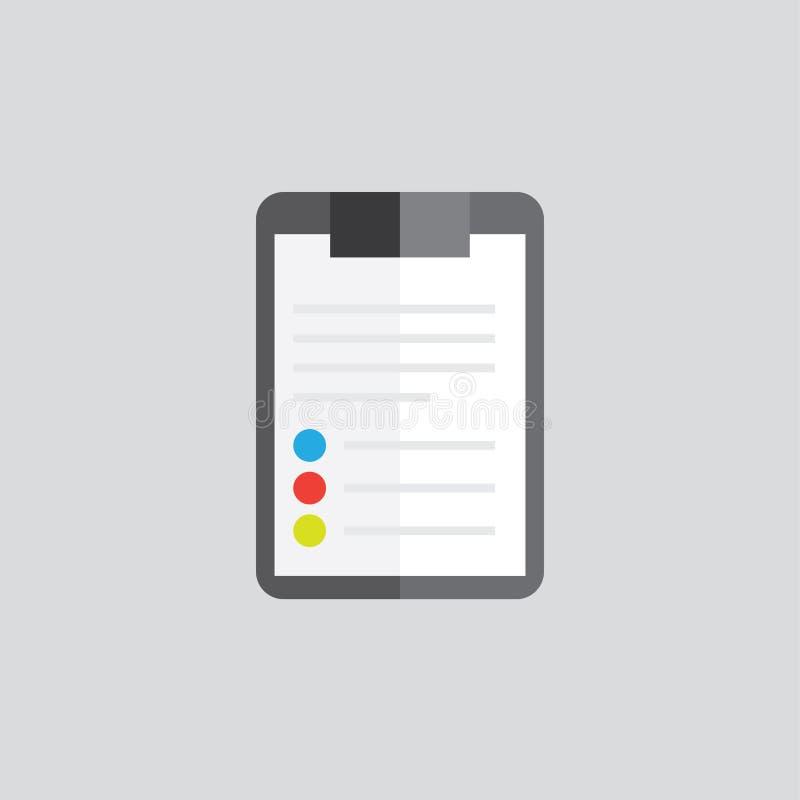 Klemmbrettordner mit leerem weißem Blatt Papier Farbikone lizenzfreies stockfoto