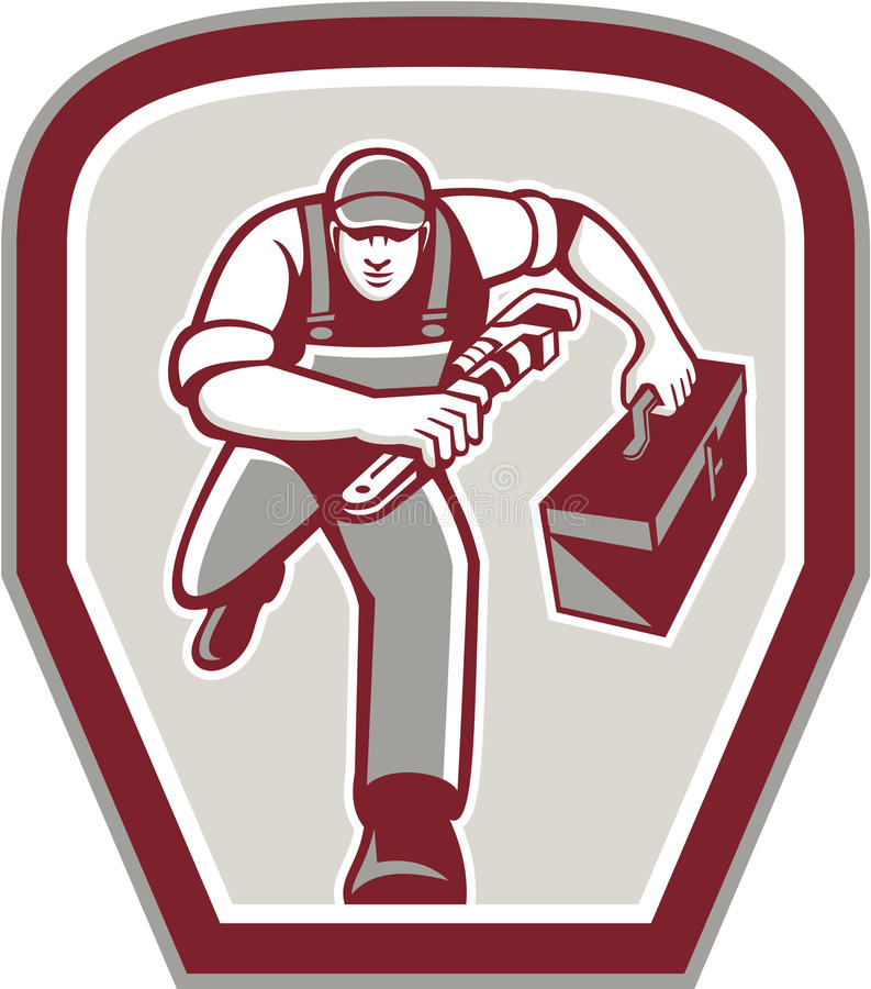 Klempner Carry Toolbox Wrench Running Retro stock abbildung