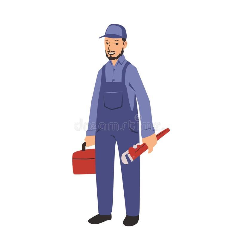 Klempner mit Werkzeugen Flache Vektorillustration Getrennt auf weißem Hintergrund stock abbildung