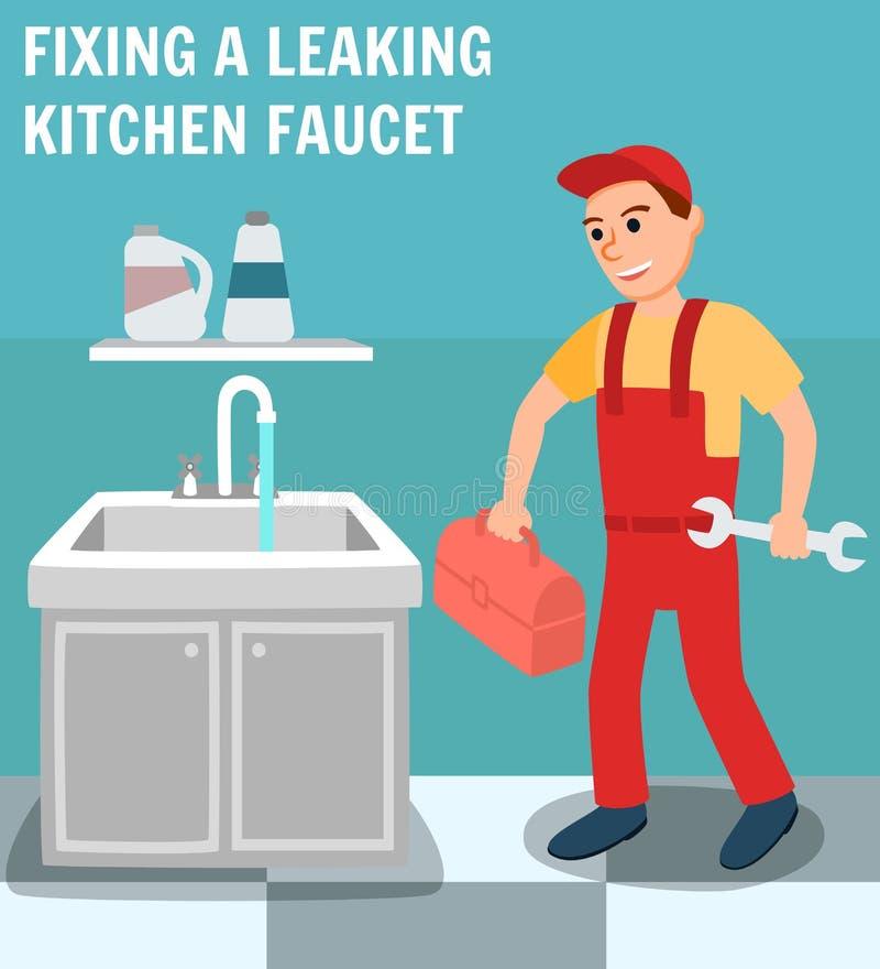 Klempner mit Werkzeugkasten-Schlüssel im Küchen-Innenraum stock abbildung