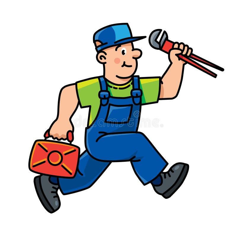 Klempner oder Schlosser mit den Werkzeugen läuft lizenzfreie abbildung