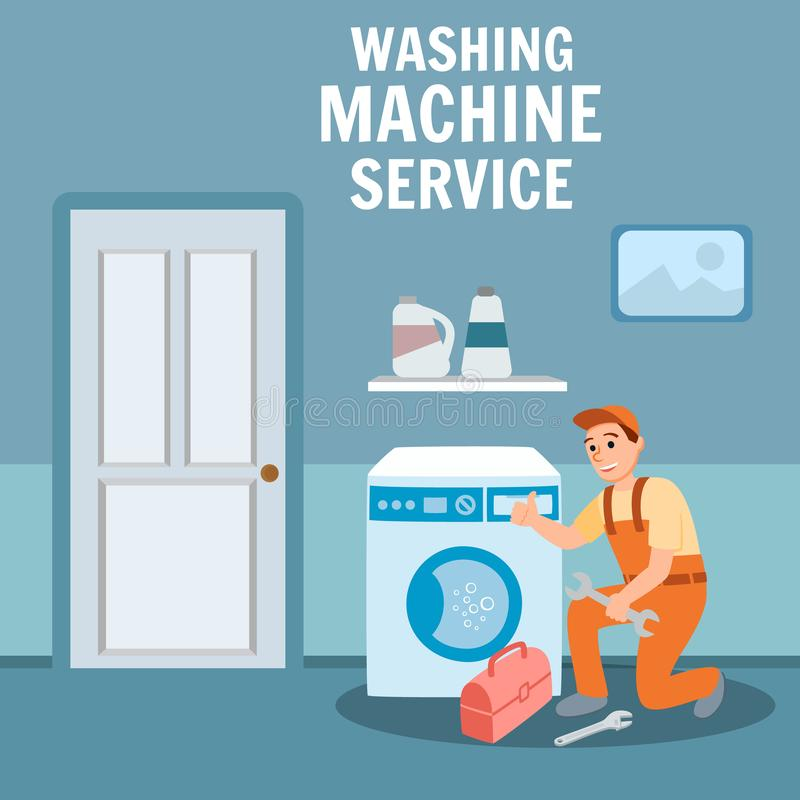 Klempner-Spezialist Repair Washing Machine lizenzfreie abbildung