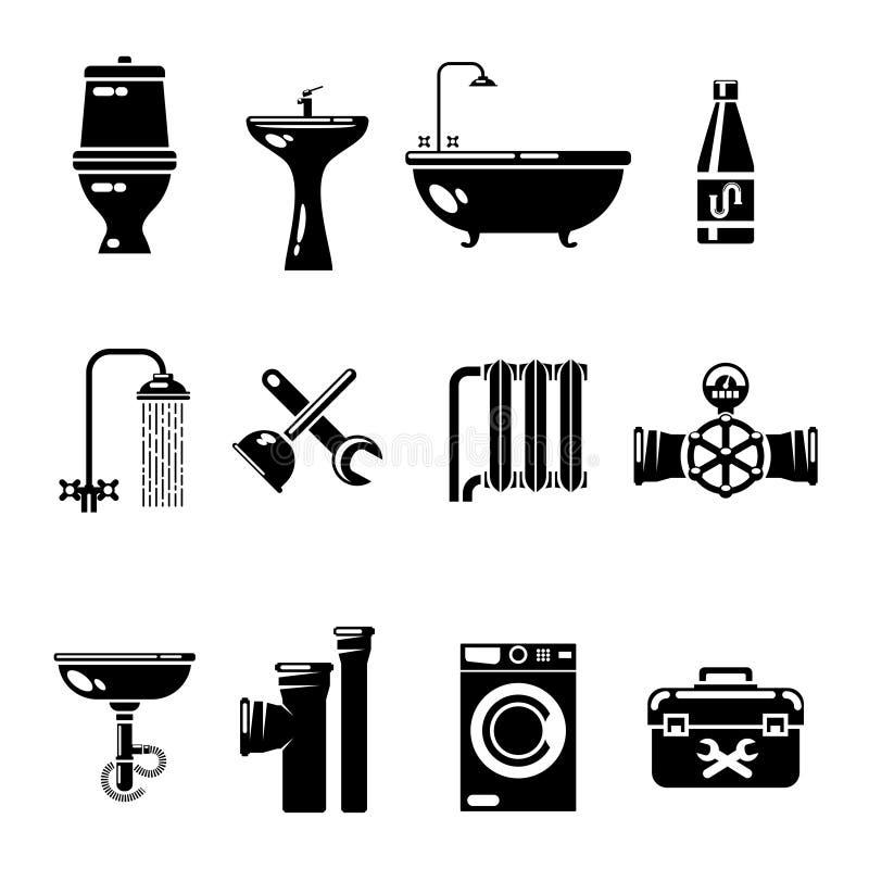 Klempnerarbeitikonen Wasserleitung und Dusche, Toilettenwannen-Vektorsymbole vektor abbildung