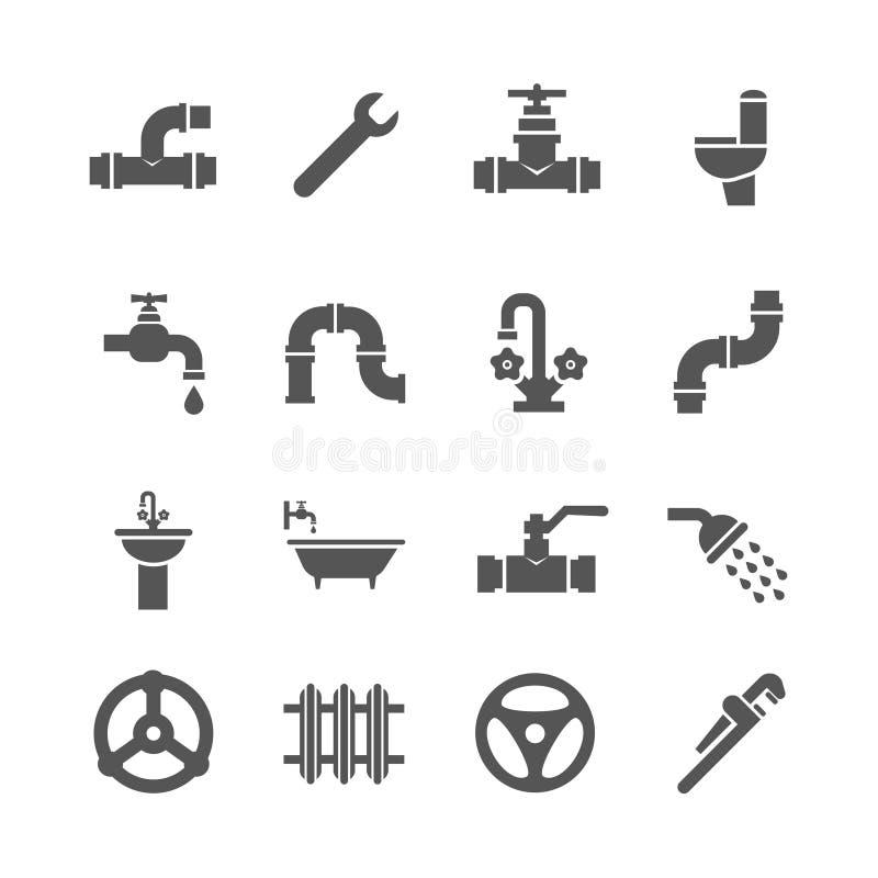 Klempnerarbeitservice wendet, Werkzeuge, Badezimmer, Sanitärtechnikvektorikonen ein lizenzfreie abbildung