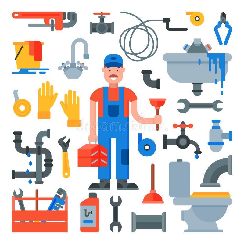Klempnerarbeitvektor-Klempnercharakter, der Rohre mit Werkzeugen und Rohrleitungsausrüstungsillustrationssatz Schlosserbleien rep vektor abbildung
