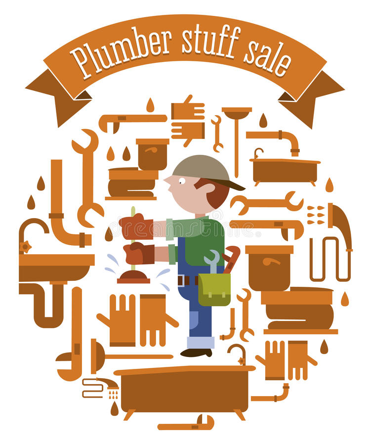 Klempnerausrüstungsverkauf stock abbildung