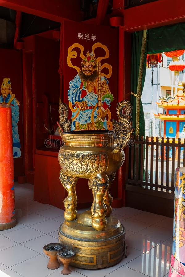 Klenteng Kwan Kong, Manado Indonesia. Manado, Indonesia - August 04 2015: Shrine on Klenteng Kwan Kong Temple, one of the oldest temple in Manado which was royalty free stock images