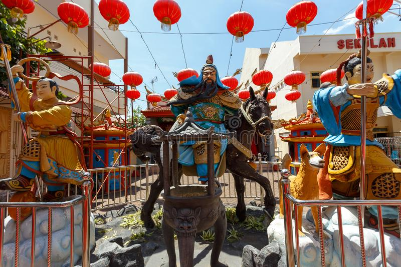 Klenteng Kwan Kong, Manado Indonesia. Manado, Indonesia - August 04 2015: Klenteng Kwan Kong Temple courtyard with warrior statues. Kwan Kong Temple in one of royalty free stock image