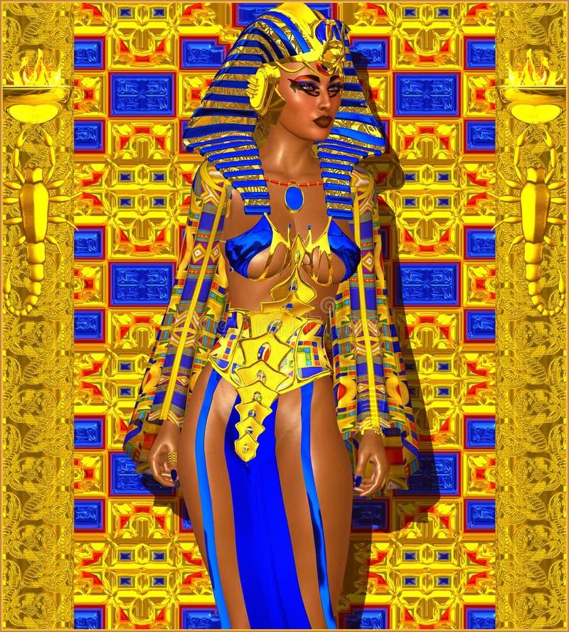 Kleopatra oder irgendein ägyptisches Frauen-Pharao stock abbildung