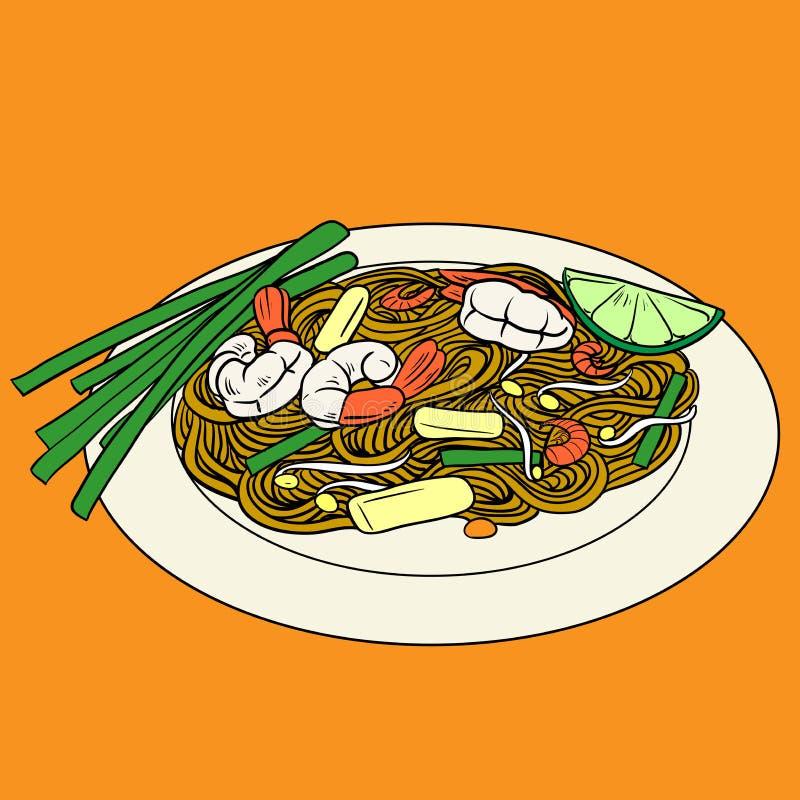 Klepie Tajlandzkiego smażącego ryżowego kluski miejscowego Tajlandia jedzenie royalty ilustracja