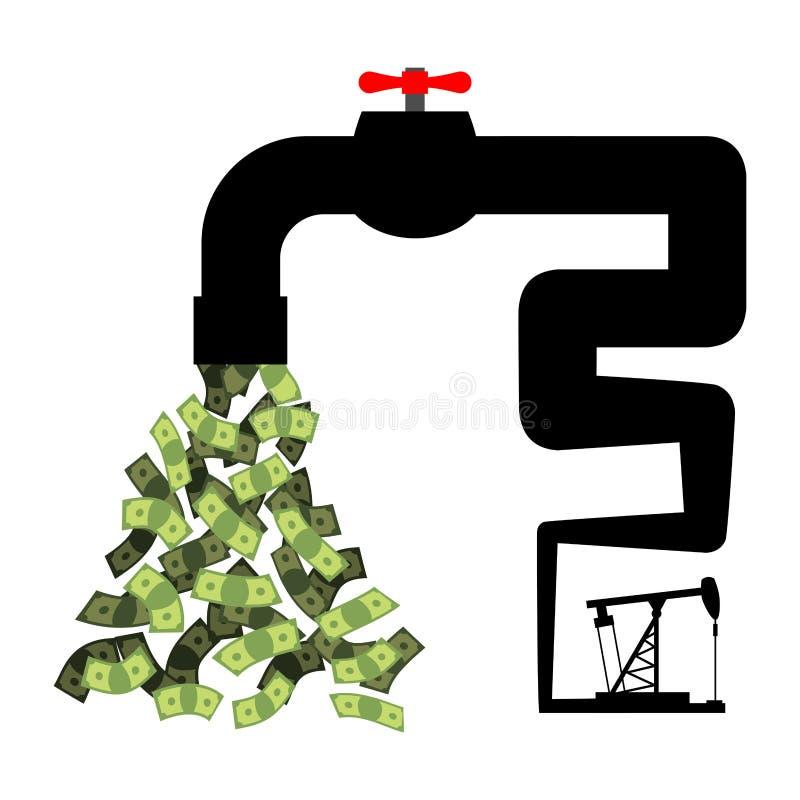 Klepnięcie z pieniądze Nafcianej wiertnicy pomp gotówka Dochód od sprzedaży zwierzę domowe ilustracji