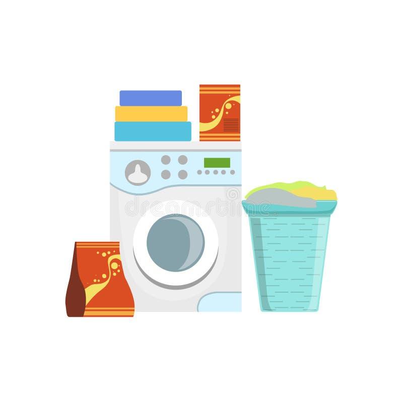 Kleren die de Reeks van het Huishoudenmateriaal wassen royalty-vrije illustratie