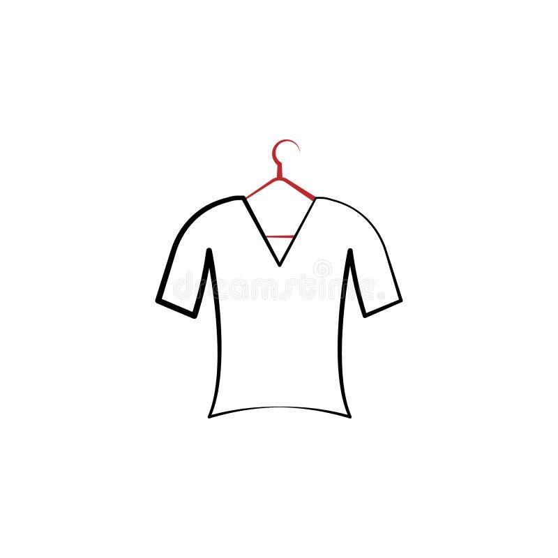 kleren, hanger, t-shirt 2 rassenbarrièrepictogram Eenvoudige kleurenelementillustratie kleren, hanger, het ontwerp van de t-shirt stock illustratie