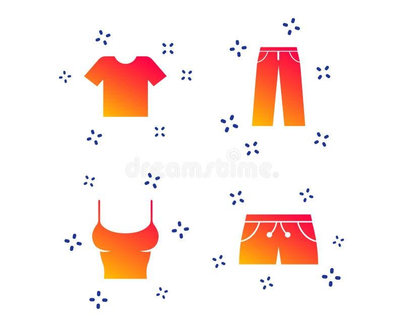 Klerentekens T-shirt en broek met borrels Vector royalty-vrije illustratie