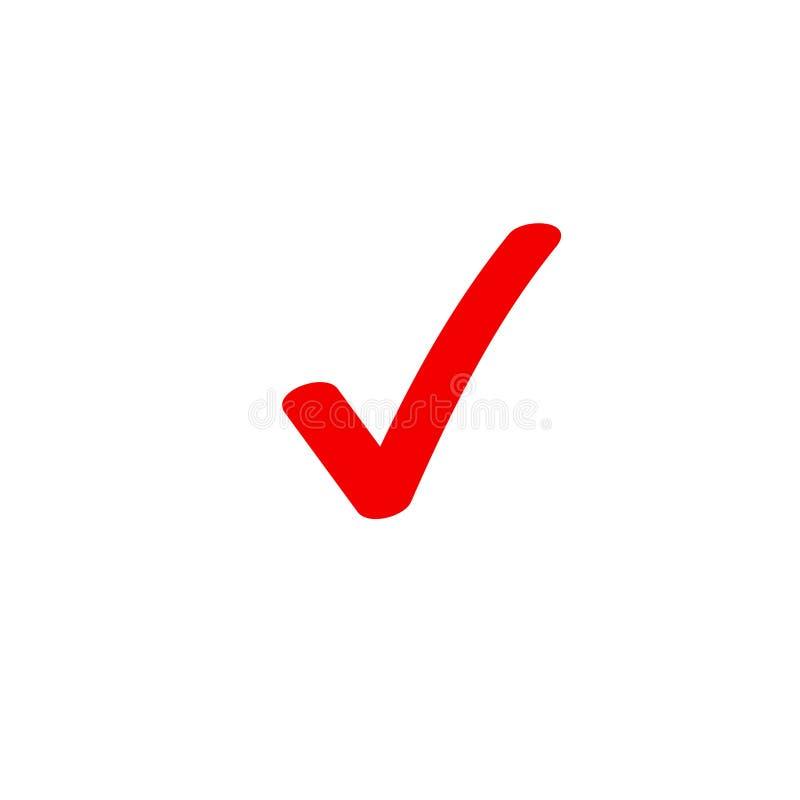 Kleszczowej ikony wektorowy symbol, markiera czerwony checkmark odizolowywający na białym, sprawdzał ikonę lub poprawnego wyboru  ilustracja wektor