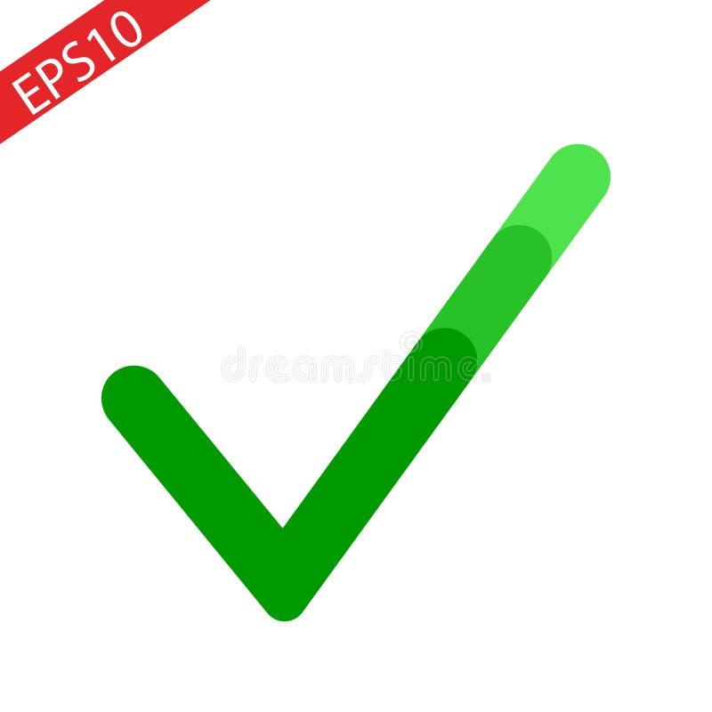 Kleszczowy szyldowy element Zielona checkmark ikona odizolowywająca na białym tle Prostej oceny graficzny projekt  ilustracja wektor