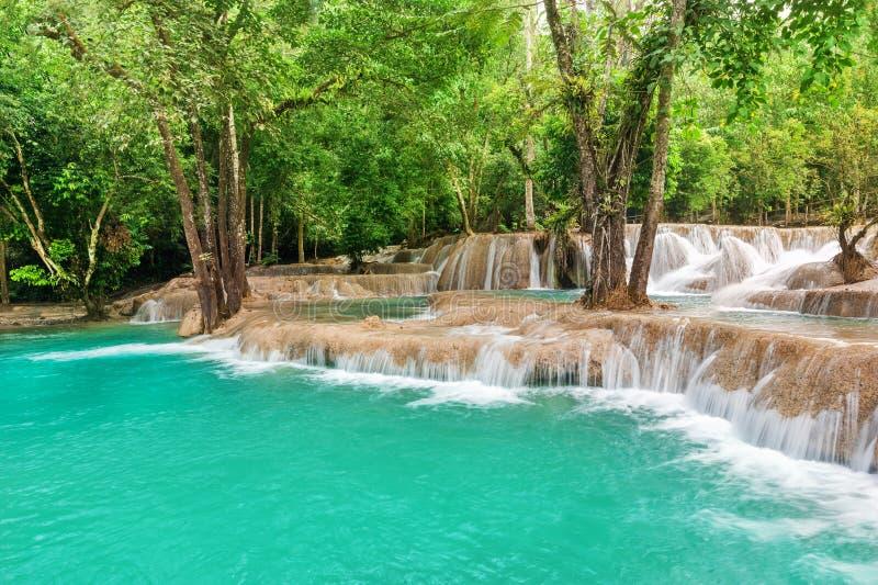 Kletter landschap met verbazend turkoois water van Kuang Si cascad royalty-vrije stock foto's