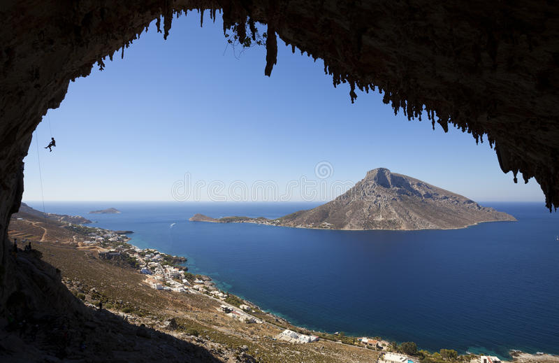 Klettern, Kalymnos Insel, Griechenland lizenzfreie stockfotografie