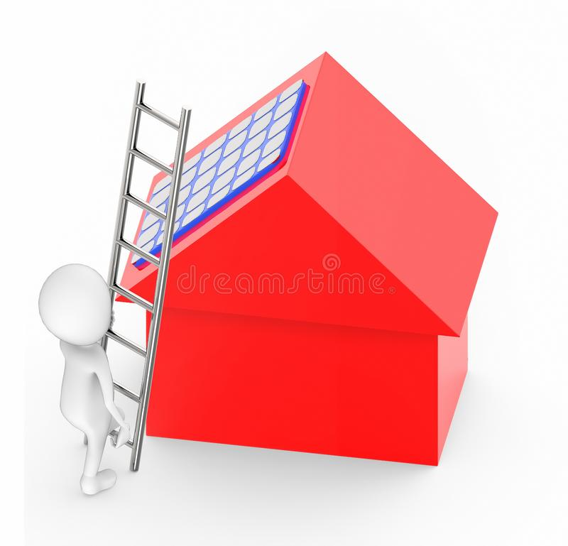 klettern weiße Leute 3d oben mithilfe einer Leiter in Richtung zu einem Haus mit Sonnenkollektor auf ihn vektor abbildung