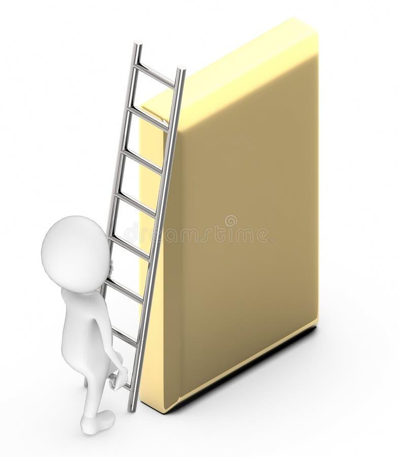 klettern weiße Leute 3d oben mithilfe einer Leiter in Richtung zu einer goldenen Stange vektor abbildung
