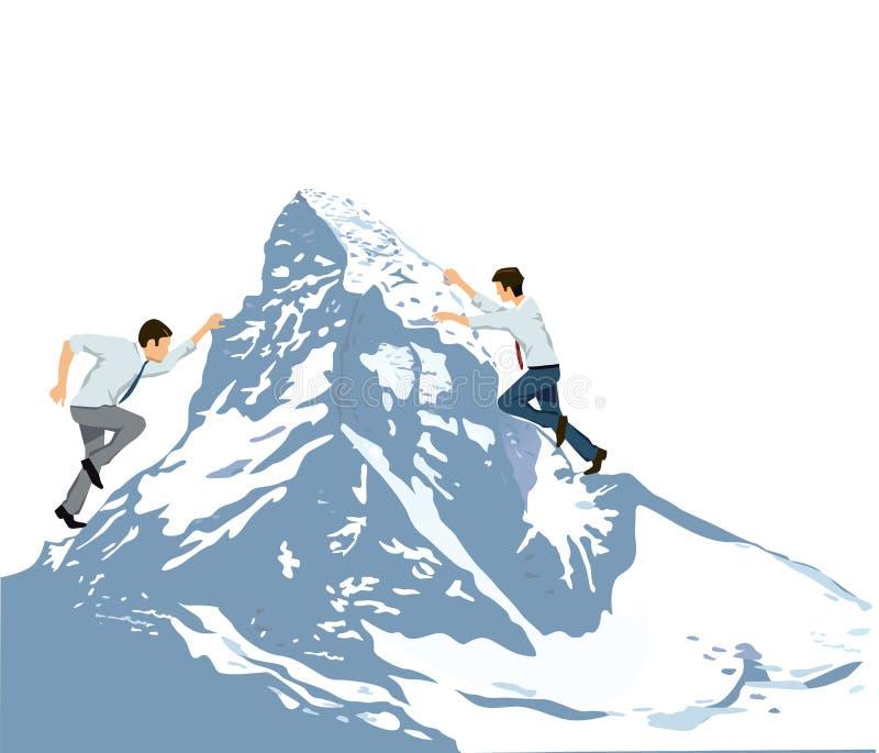 Klettern zum Gipfel des Berges vektor abbildung