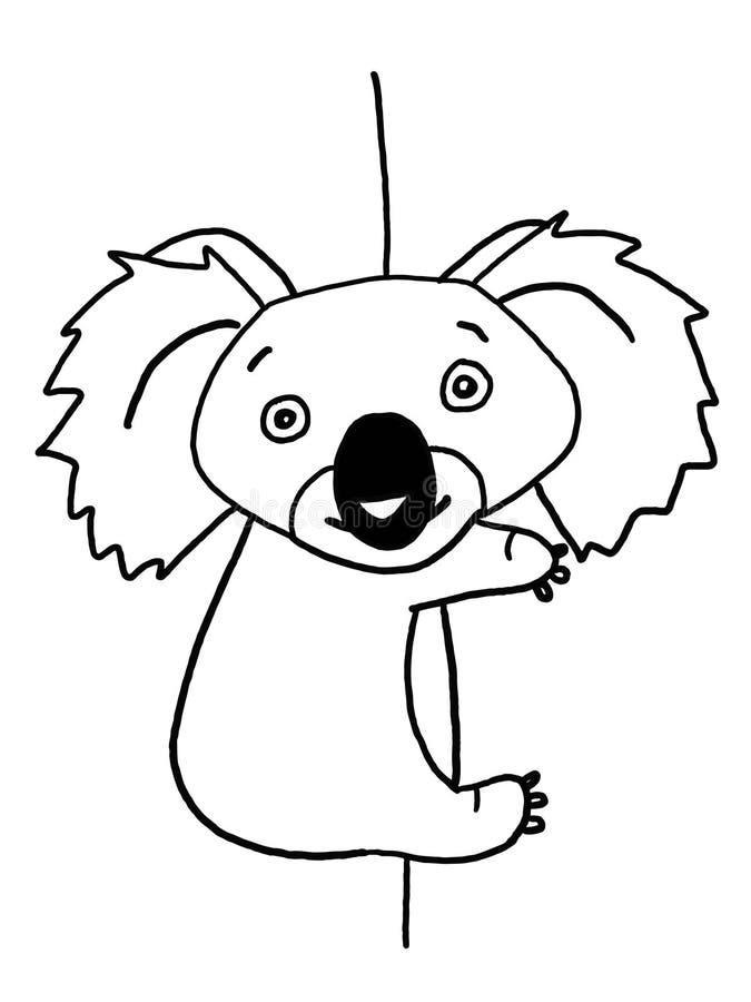 Kletternde Illustration des netten Koala, die schwarze weiße Farbtonzeichnungsillustration zeichnet stock abbildung