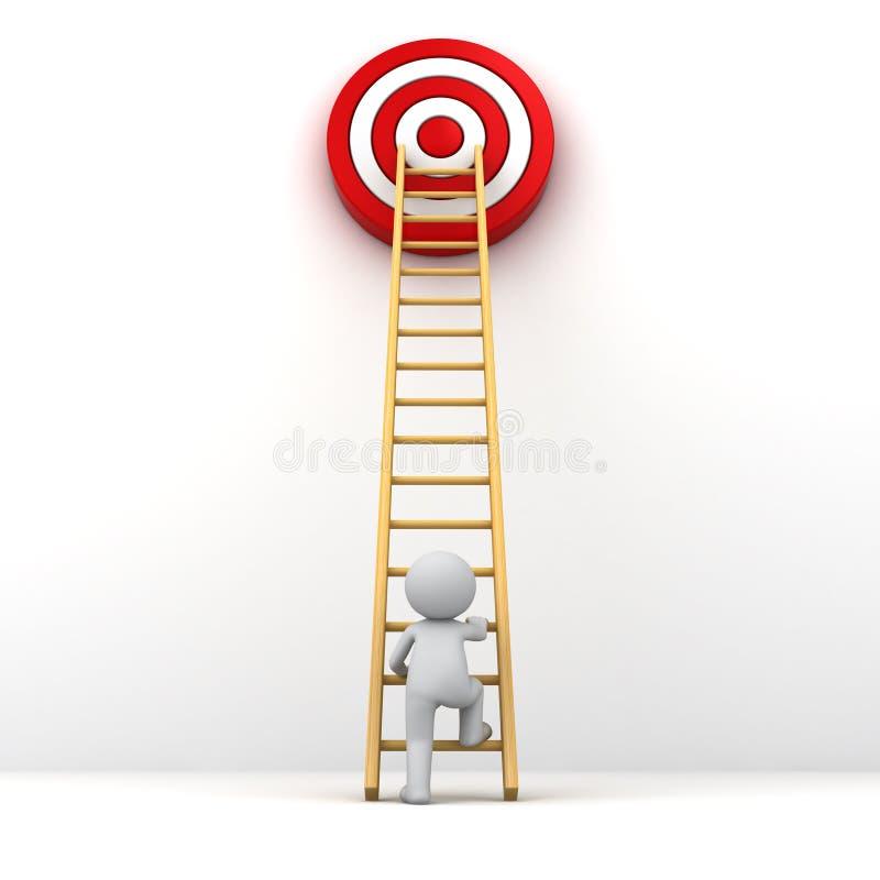 kletternde Leiter des Mannes 3D zum roten Zielziel vektor abbildung