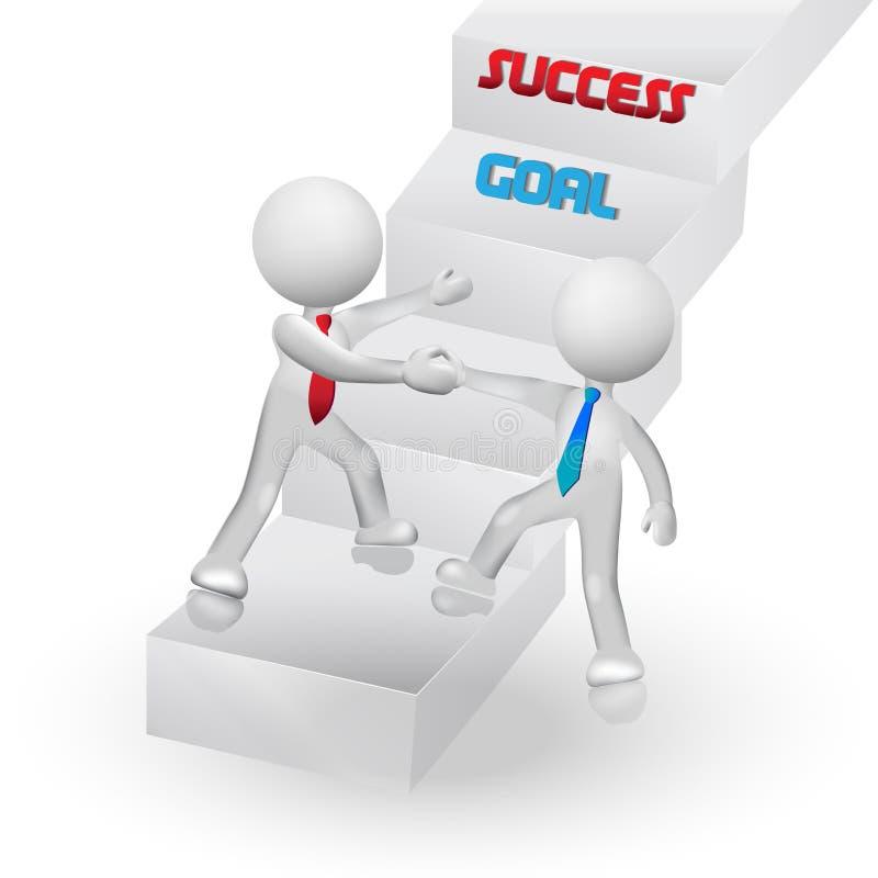 kletternde Treppe der Leute 3D Ikonen-Logovektor des Erfolgs zum symbolischen stock abbildung